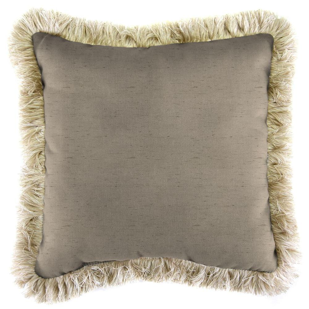 Sunbrella Frequency Sand Square Outdoor Throw Pillow with Canvas Fringe