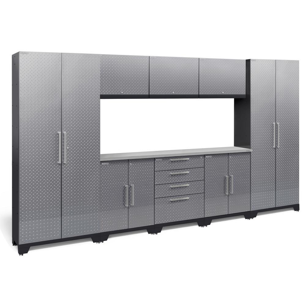 Performance Diamond Plate 2.0 72 in. H x 132 in. W x 18 in. D Garage Cabinet Set in Silver (9-Piece)