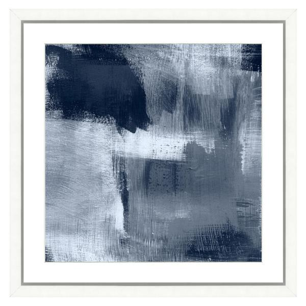 Vintage Print Gallery Navy Blue Abstract I Framed Archival