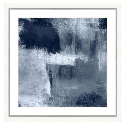"""""""Navy blue abstract I"""" Framed Archival Paper Wall Art (26 in. x 26 in. Full Size)"""