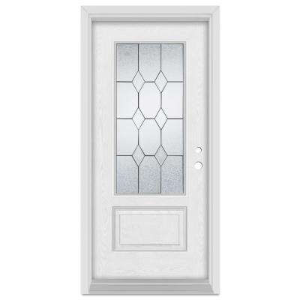 33.375 in. x 83 in. Geometric Left-Hand 3/4 Lite Patina Finished Fiberglass Oak Woodgrain Prehung Front Door Brickmould