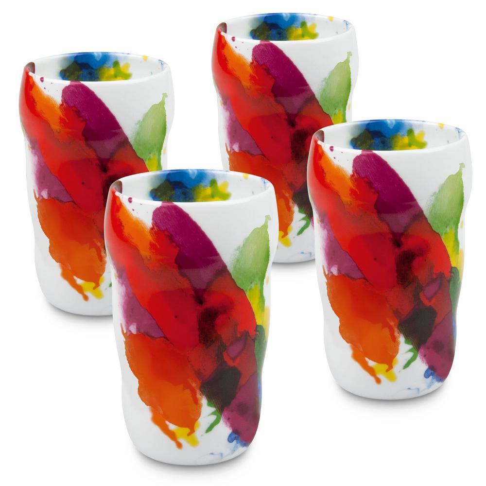 Konitz 4-Piece on Color Porcelain Double Walled Grip Mug Set