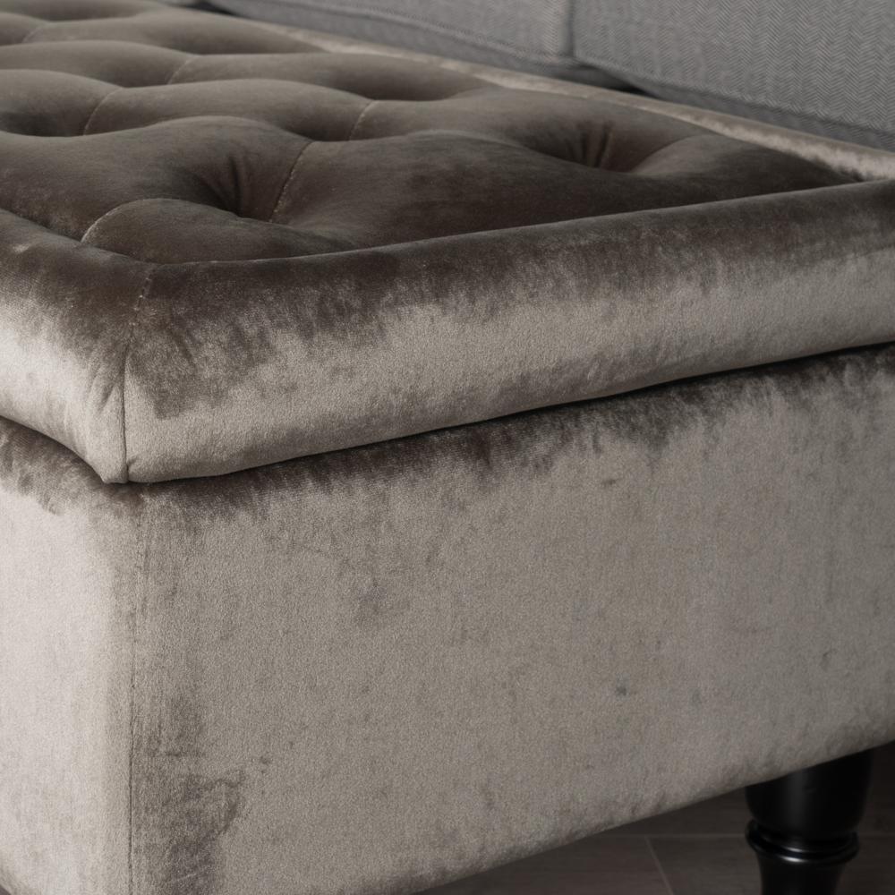 Fabulous Noble House Chantelle Tufted Gray New Velvet Storage Ottoman Camellatalisay Diy Chair Ideas Camellatalisaycom