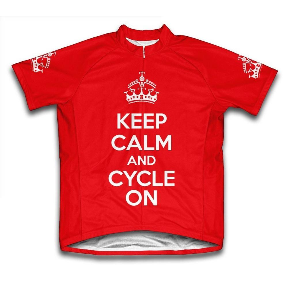 Medium Red Keep Calm and Cycle on Microfiber Short-Sleeved Cycling Jersey