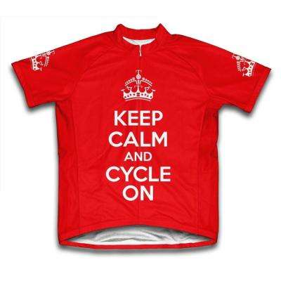 Small Red Keep Calm and Cycle on Microfiber Short-Sleeved Cycling Jersey