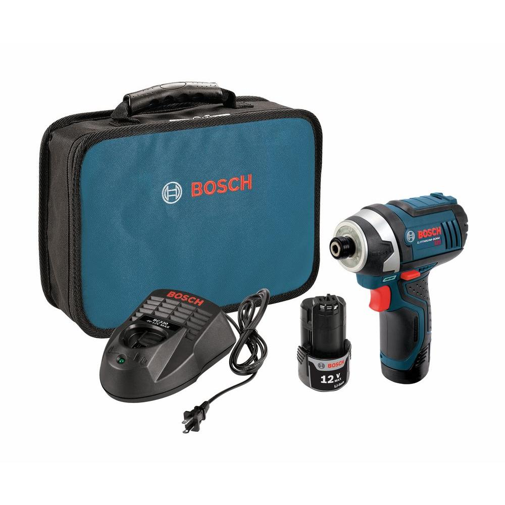 Bosch 12 Volt Lithium-Ion Cordless 1/4 in. Variable Speed Impact Driver Kit with (2) 2.0Ah Batteries