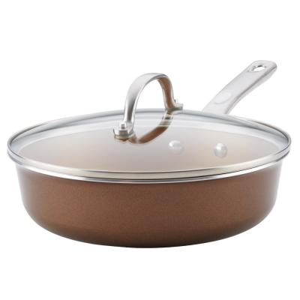 Home Collection Porcelain Enamel Nonstick Saute Pan with Lid, 3-Quart, Brown Sugar