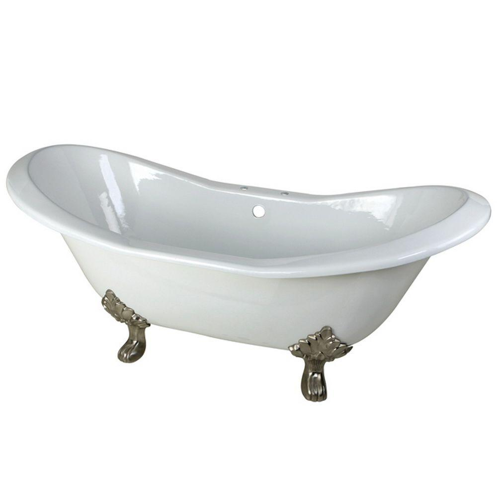clawfoot baby bath tub. Cast Iron Satin Nickel Claw Foot Double Slipper Tub Porcelain Enameled  Bathtubs Bath The Home Depot