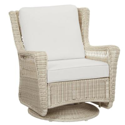 Park Meadows Off-White Wicker Swivel Outdoor Patio Rocking Lounge Chair with CushionGuard Chalk White Cushions