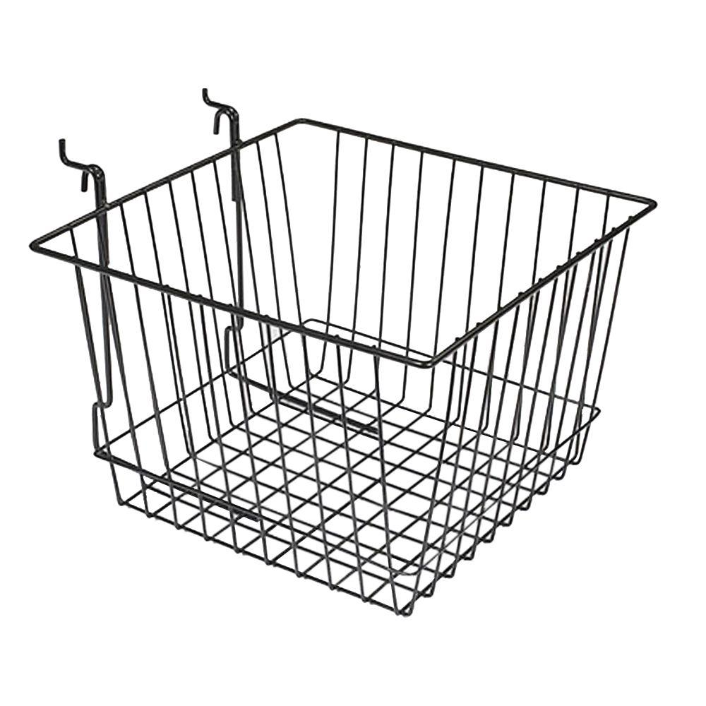 12 in. x 12 in. x 8 in. Black Slatwall Basket