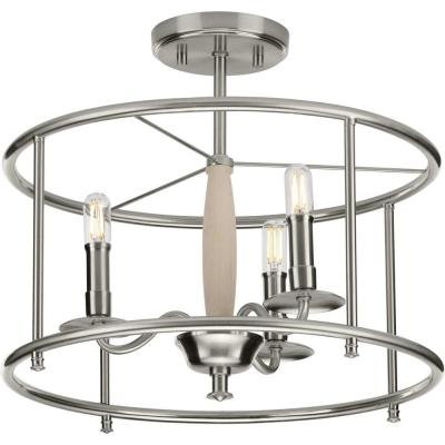 Durrell 16 in. Brushed Nickel Semi-Flush Convertible