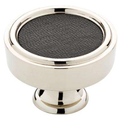 Averil 1-1/2 in. (38mm) Polished Nickel with Black Faux Leather Insert Round Cabinet Knob