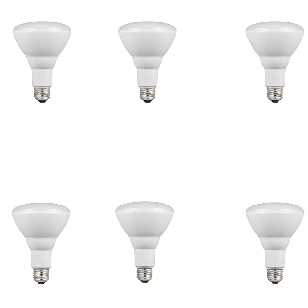 65W Equivalent Cool Bright BR30 Dimmable LED Light Bulb 6 Pack