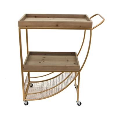 33 in. Gold Wood and Metal Bar Cart