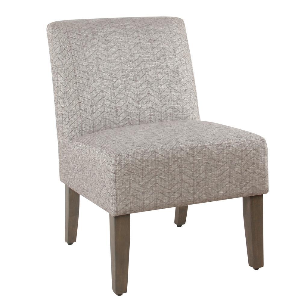 Chevron textured gray armless accent chair