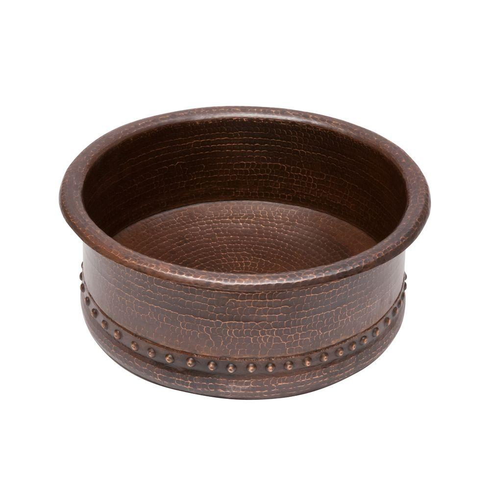 Premier Copper Products Round Tub Hammered Copper Vessel Sink In Oil Rubbed  Bronze