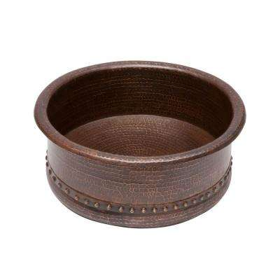 Round Tub Hammered Copper Vessel Sink in Oil Rubbed Bronze