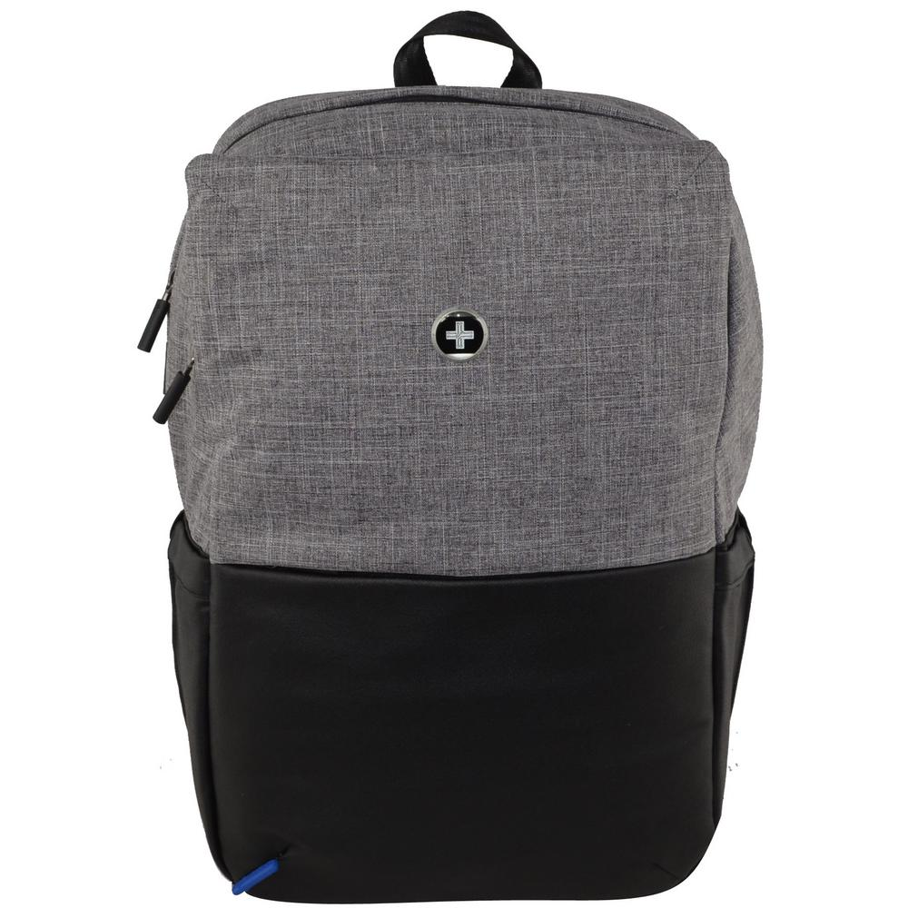 SwissDigital Varsity Collection Joule 18 in. Light Grey and Black Backpack e28eee57c5e80