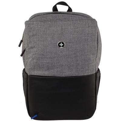 Varsity Collection Joule 18 in. Light Grey and Black Backpack