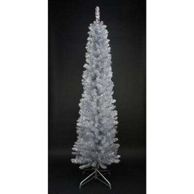 6 ft. x 20 in. Silver Tinsel Artificial Pencil Christmas Tree Unlit