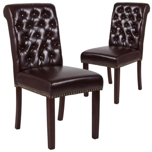 Carnegy Avenue Brown Leather Dining Chairs (Set of 2) CGA-BT-228710-BR-HD