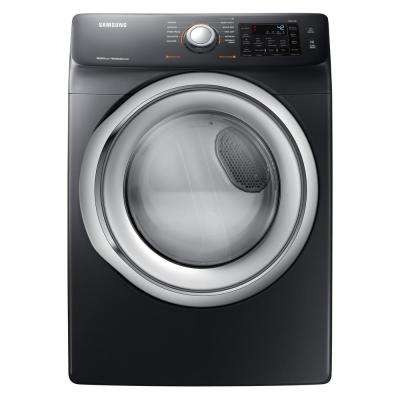 7.5 cu. ft.  Black Stainless Steel Electric Dryer with Steam