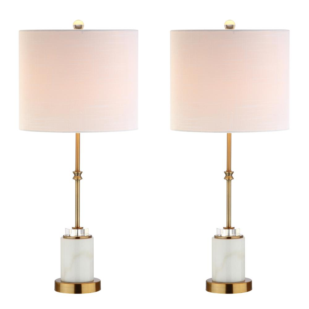 068e445ba682 JONATHAN Y Harper 27 in. Marble/Crystal Table Lamp, Brass (Set of 2 ...