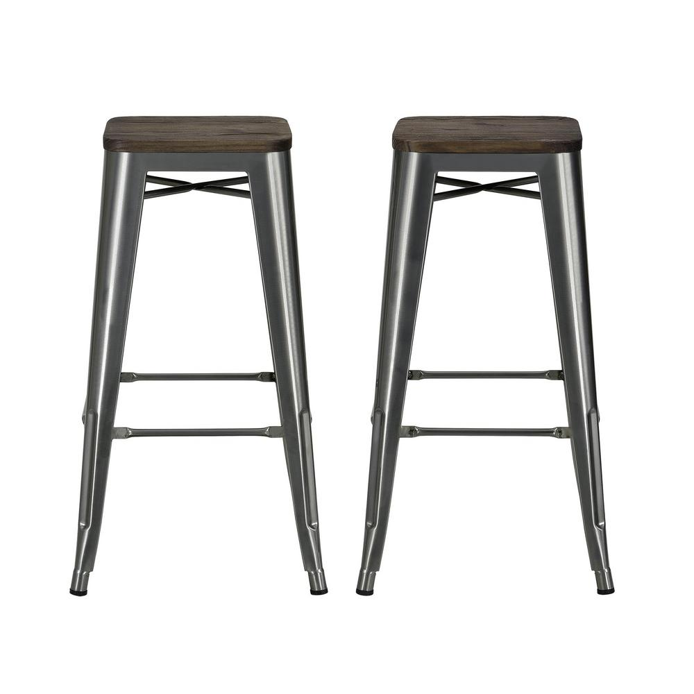 Dhp Penelope 30 In Antique Gun Metal Bar Stool With Wood Seat Set