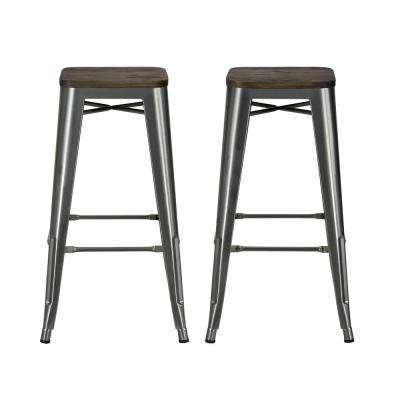 Penelope 30 in. Antique Gun Metal Bar Stool with Wood Seat (Set of 2)