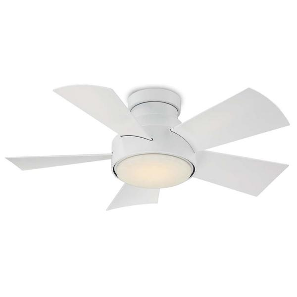 Vox 38 in. LED Indoor/Outdoor Matte White 5-Blade Smart Flush Mount Ceiling Fan with 3000K Light Kit and Wall Control