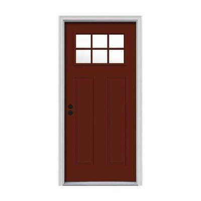 32 in. x 80 in. 6 Lite Craftsman Mesa Red Painted Steel Prehung Inswing Right-Hand Front Door w/Brickmould