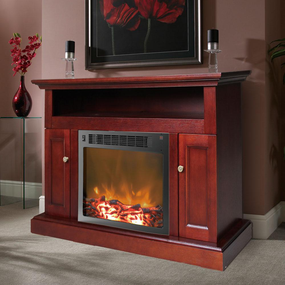 Cambridge Sorrento 23 In Electronic Fireplace Mantel With Insert In Mahogany Cam5021 2mah The