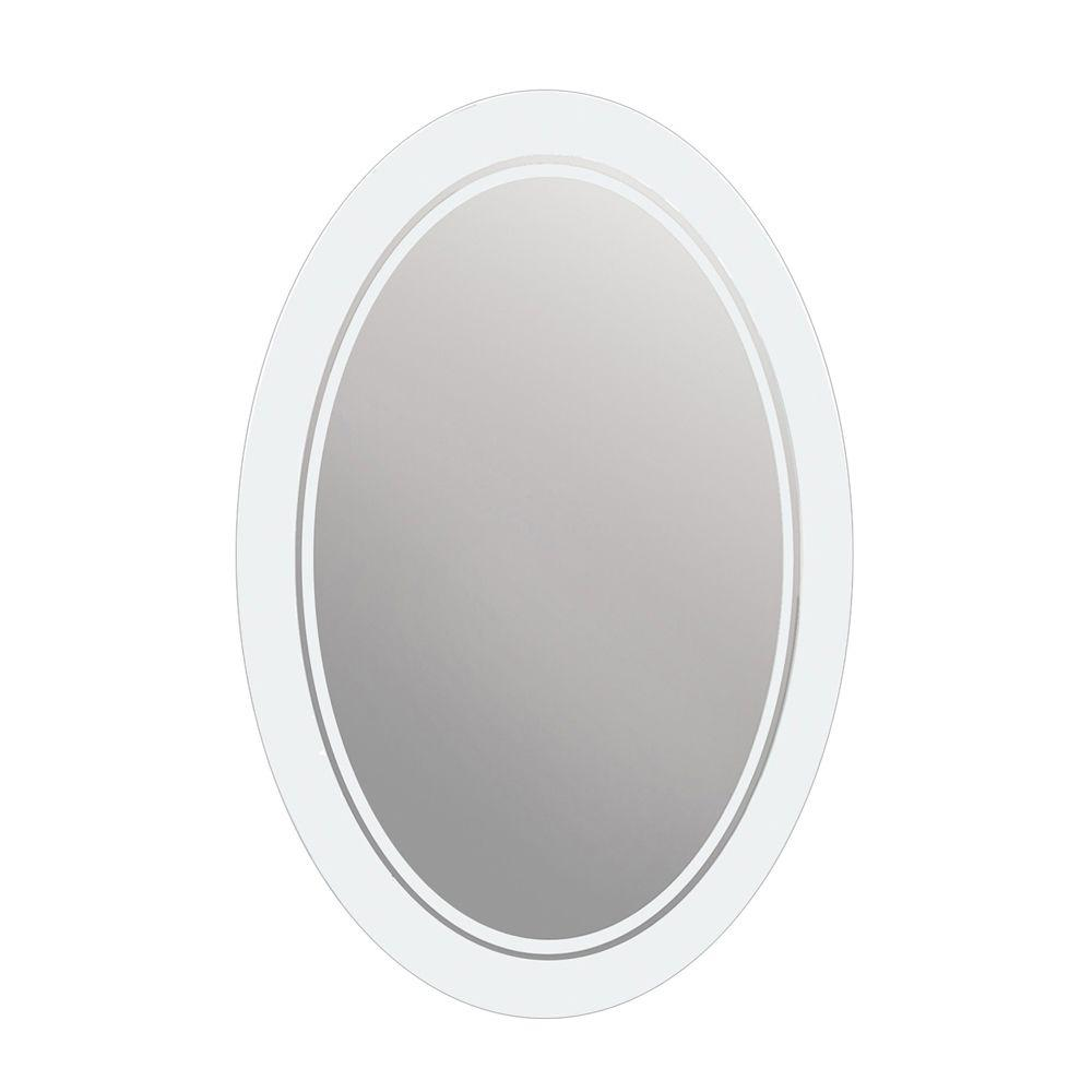 Glacier Bay 29 in. x 23 in. Frosted Oval Mirror