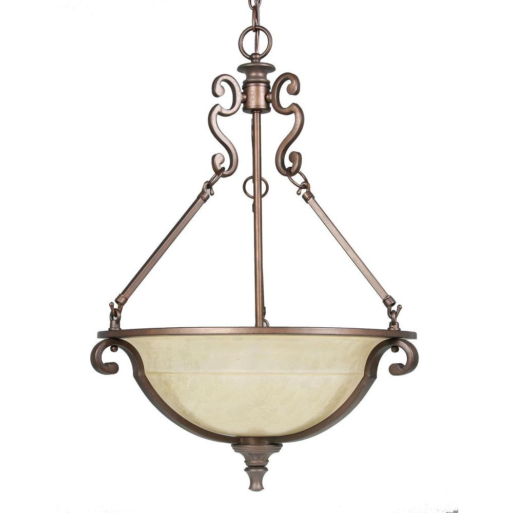 Home Decorators Collection Fairview 3-Light Heritage Bronze Bowl Pendant