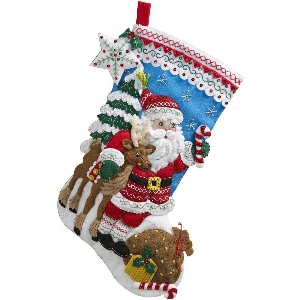 Bucilla 18 in. Felt Stocking Kit-Nordic Santa-86647 - The Home Depot