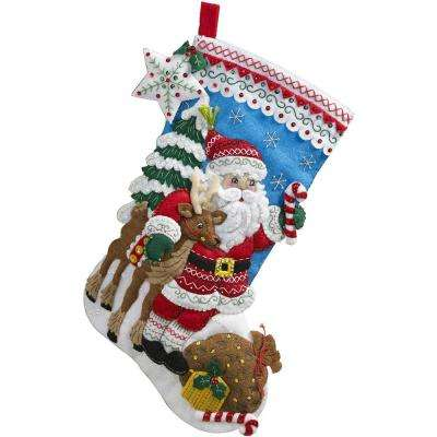18 in. Felt Stocking Kit-Nordic Santa