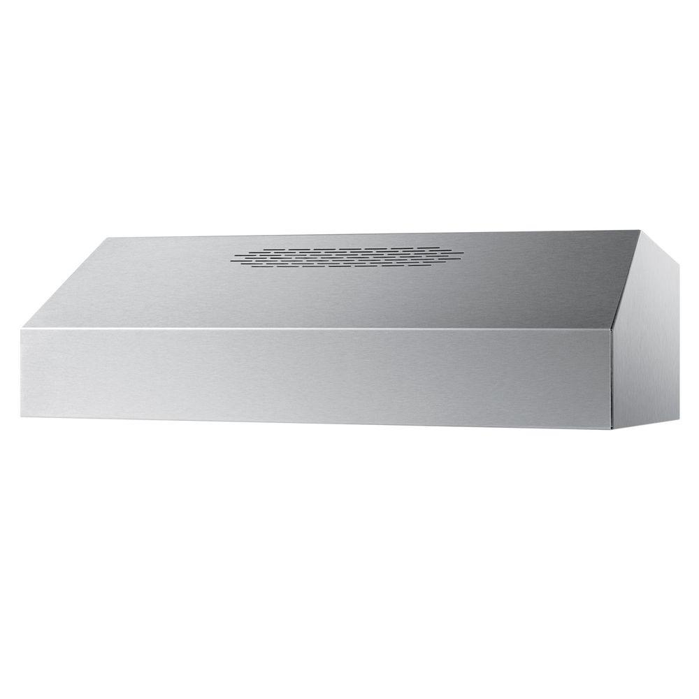 Summit Appliance 36 in. Convertible Range Hood in Stainless Steel (Silver) SUMMIT's exclusive ULT series of 390CFM range hoods offer superior construction, full features, and modern style. The ULT2836SS is a 36 in. wide range hood with a stainless steel finish. This convertible hood can be used for ducted or ductless operation with variable speed options. Additional features include a washable aluminum filter and dual lights with the bulbs included. Made in the U.S.A. and available in four sizes, SUMMIT's ultra-series is the best bet for users in the market for quality hoods at value prices.