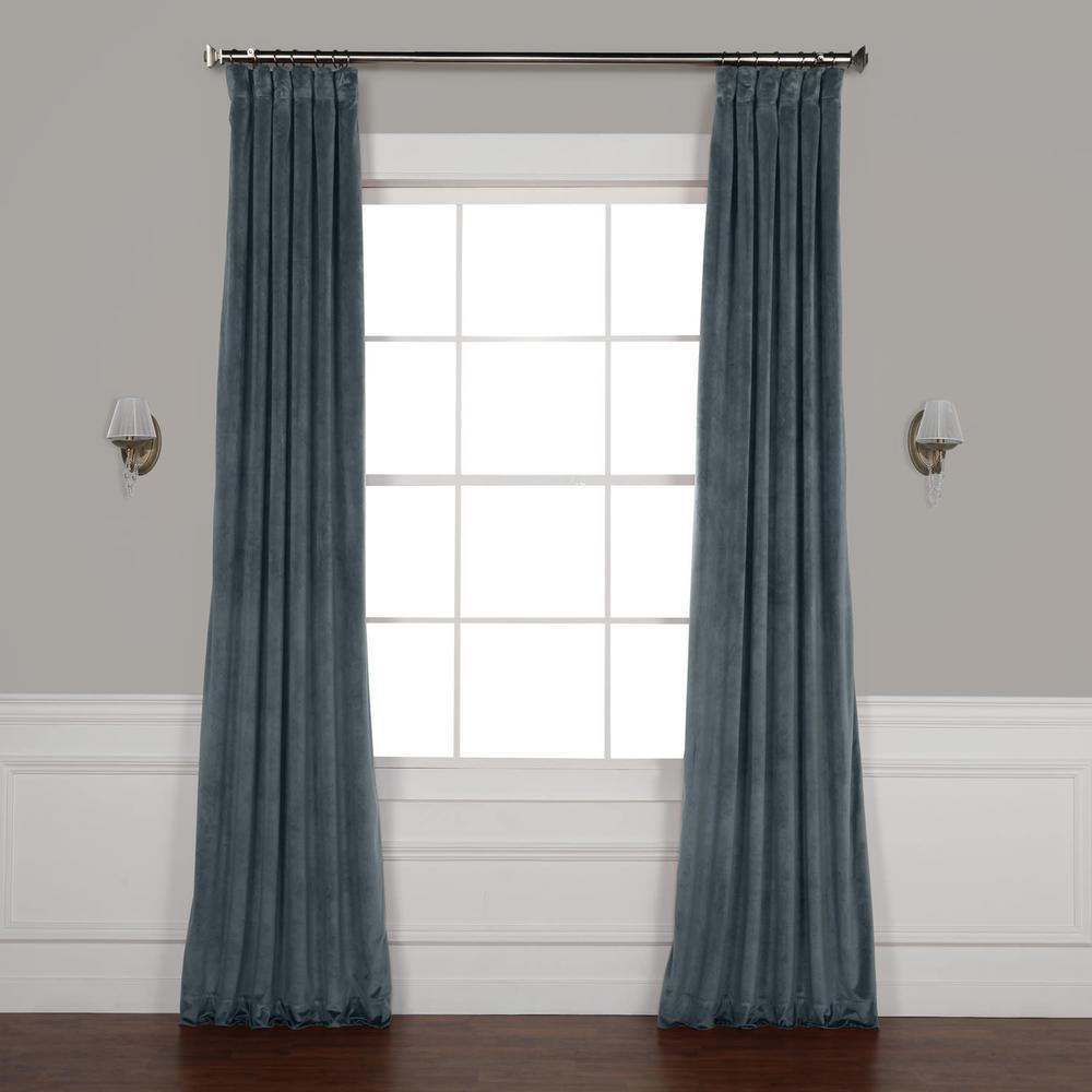 London Blue Plush Velvet Curtain - 50 in. W x 96 in. L