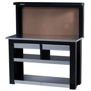 54 In Professional Steel Workbench With Back Wall Storage