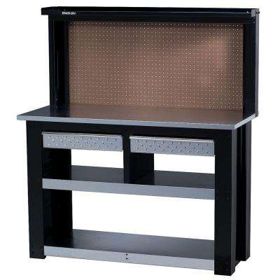 54 in. Professional Steel Workbench with Back Wall Storage