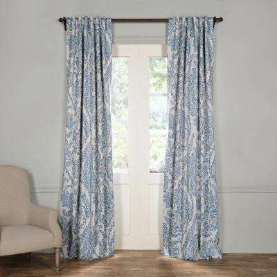 Semi-Opaque Tea Time China Blue Blackout Curtain - 50 in. W x 96 in. L (Panel)