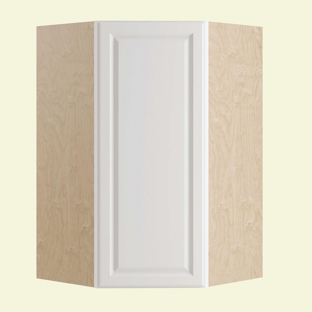 Home decorators collection hallmark assembled 27x36x27 in wall angle kitchen cabinet left hand for Arctic white kitchen cabinets