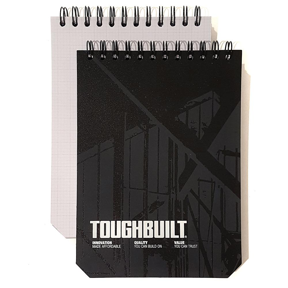 TOUGHBUILT Large Grid Notebooks with Plastic Cover, Black (2-Pack)