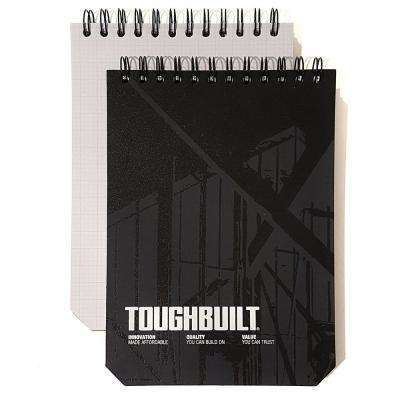 Large Grid Notebooks with Plastic Cover, Black (2-Pack)