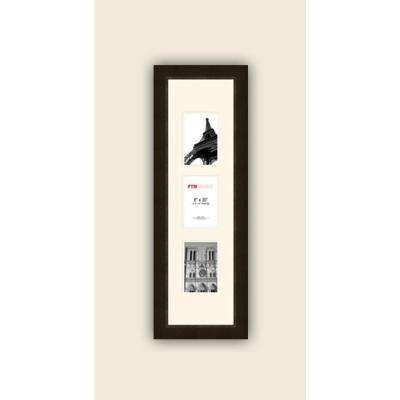3-Opening Vertical 4 in. x 6 in. White Matted Espresso Photo Collage Frame