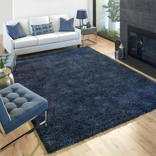 Laura Ashley Luxury Dark Blue 8 Ft X 10 Ft Solid Shag Indoor Area Rug 18768 The Home Depot