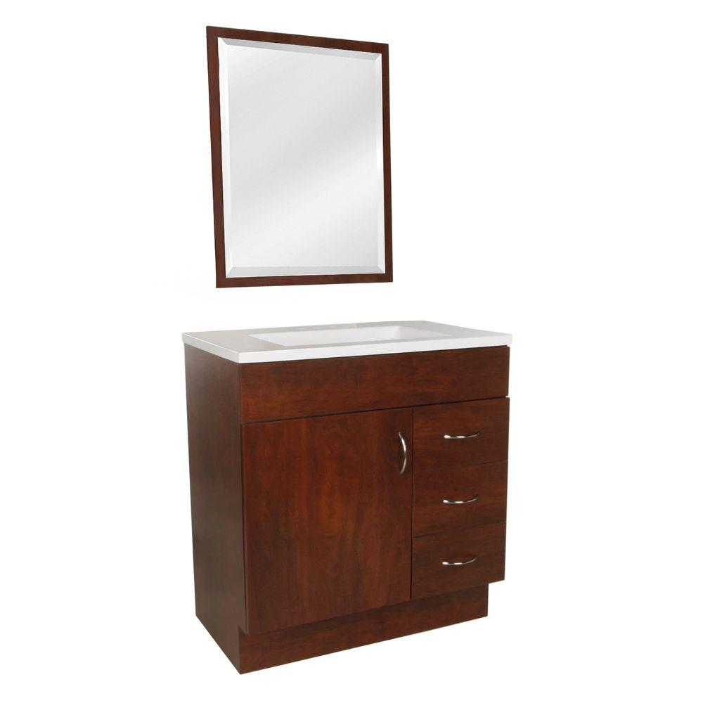 St. Paul Vanguard 30 in. Vanity in Hazelnut with AB Engineered Composite Vanity Top in White and Mirror