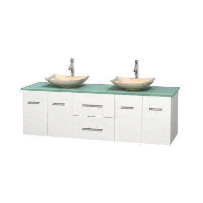Centra 72 in. Double Vanity in White with Glass Vanity Top in Green and Sinks