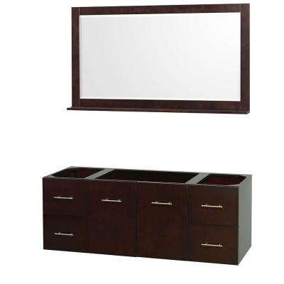 Centra 59 in. Vanity Cabinet with Mirror in Espresso
