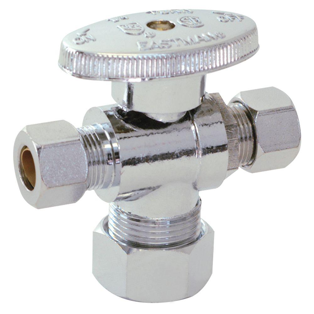 Eastman 5/8 in. Compression x 3/8 in. Compression x 1/4 in. Compression Brass 1/4 Turn Dual Outlet Stop Valve